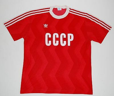 £249 • Buy 1980s RUSSIA CCCP USSR ADIDAS HOME FOOTBALL SHIRT (SIZE L)