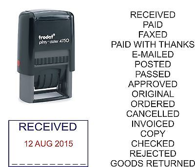 £13.95 • Buy Date Stamp Paid Received Posted Checked E-mailed Trodat 4750 Self Inking Rubber