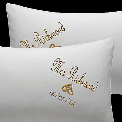 Personalised Gift Wedding Pillow Cases Embroidered Mr & Mrs With Rings & Date • 19.99£