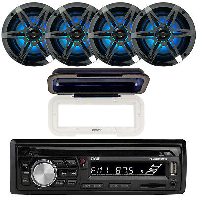Pyle Bluetooth CD MP3 Marine Stereo + Cover, 4x 6.5  Marine Boat Speakers Bundle • 137.99$