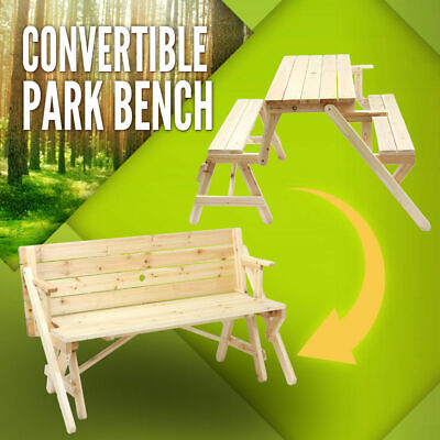 AU129.95 • Buy Picnic Table Park Bench Setting Outdoor Garden Bench Set Timber Chair