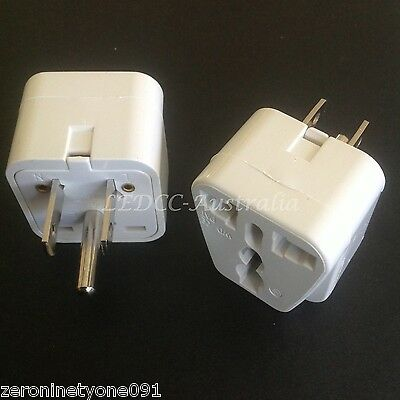 AU14.69 • Buy  Universal 2pcs AUS NZ EU UK HK To USA  CAN Power Plug Travel Adaptor Converter