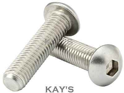 Stainless Steel BUTTON HEAD Bolts M8 x 20 boat etc 10pk