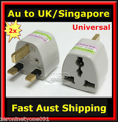 AU14.57 • Buy  AUS NZ EU USA  To UK SINGAPORE MALAYSIA Power Plug Travel Adapter Converter 2pc