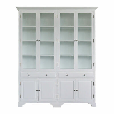 AU3351.76 • Buy French Provincial Classic White Cupboard Display CABINET Tempered GLASS Bookcase