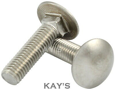 M8 8mm A4 Stainless Marine Grade Coach Bolts Cup Mushroom Square Carriage Bolts