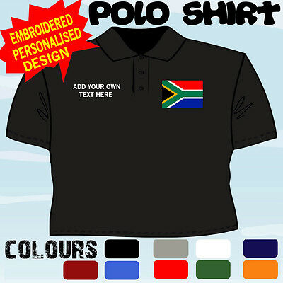 Personalised South Africa  Flag Emblem T Polo Shirt Embroidered • 14.47£