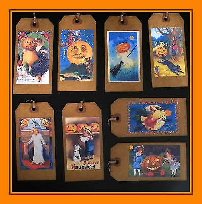 $ CDN5.04 • Buy Old Fashioned Halloween Hang Tags Made From Vintage Postcards
