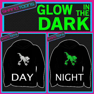 Dinosaur Adults & Childrens Glow In The Dark Hoodie Hoody • 16.95£