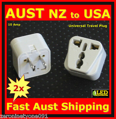 AU14.69 • Buy AUS NZ Universal To US USA  CANADA JAPAN PowerPlug Travel Adaptor Converter 2pc