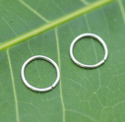 AU15.19 • Buy Nose Ring Hoops-Helix-Tragus Cartilage Earrings ONE PAIR Sterling Silver 24g 7mm