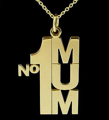 9ct GOLD PLATE STERLING SILVER NO1 MUM CHAIN NECKLACE OR CHARM MOTHERS XMAS GIFT • 27.75£