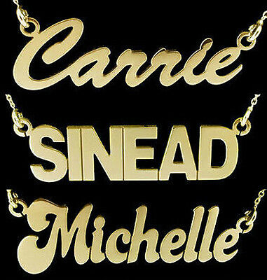 9ct Gold Plated Small Personalised Carrie Any Name Drop Plate Necklace And Chain • 35.73£