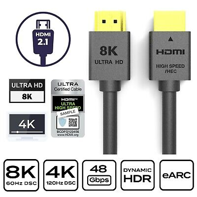 AU14.99 • Buy 1m HDMI 2.1 Cable Ultra HD 8K@60Hz 48Gbps 8K 4K UHD 3D Dynamic HDR Copper Wire