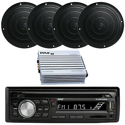 $207.99 • Buy Silver Kenwood Marine Boat Yacht Stereo Receiver 4 Speakers And 400W Amp & Cover