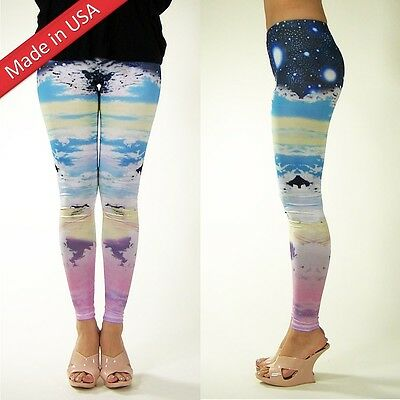£14.18 • Buy Galaxy Pastel Cloud Sky Cosmic Leggings Space Stars Hot Tight Pants Made In US
