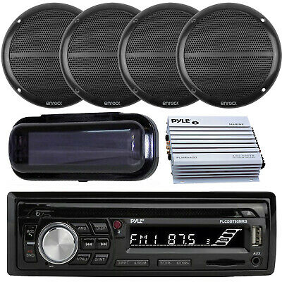 $178.99 • Buy New Marine Boat SD USB Stereo +Wireless Bluetooth 4 6.5  Speakers 800W Amp Cover