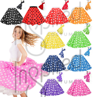 21  PLUS SIZE 18-26 Polka Dot Rock N Roll Skirt Scarf Set 1950s Many Colours UK • 11.99£