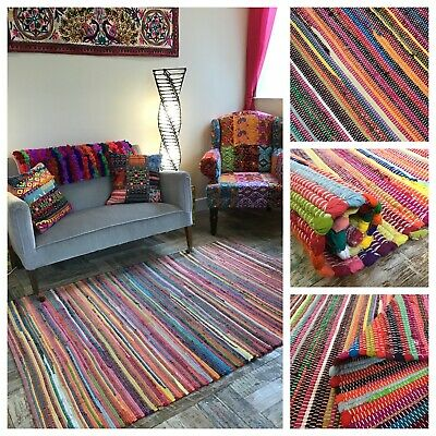£14 • Buy RAINBOW Multicolour RAG RUG Small Medium Large Rug Or Runner Rectangle Or Square