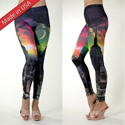 £14.18 • Buy New Galaxy Fantasy Cosmic Dark City Night View Yoga Leggings Tight Pants USA