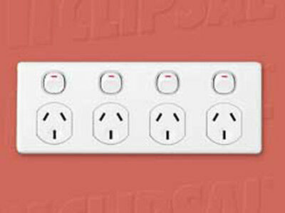 AU49.49 • Buy Clipsal Quad Powerpoint 4 Gang Gpo Outlet Power Point Socket C2000 Four Plate