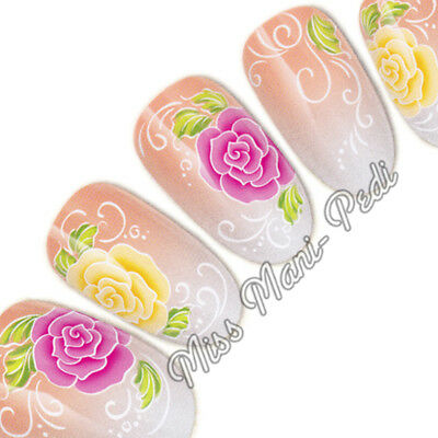£2.15 • Buy Rose Nail Water Decals Nail Stickers Transfers Pink & Yellow Flowers Roses G086