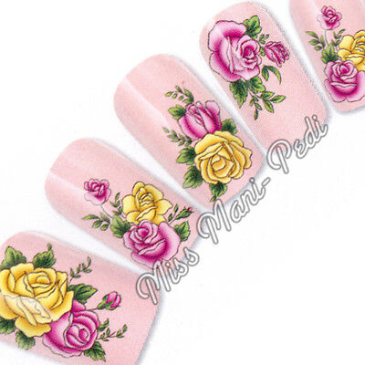 £2.15 • Buy Nail Art Water Transfers Stickers Wraps Decals PinkYellow Roses Flowers G089