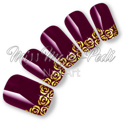 Nail Art Water Decals, Nail Stickers, Transfers For Tips Gold Roses Flowers T314 • 2.15£