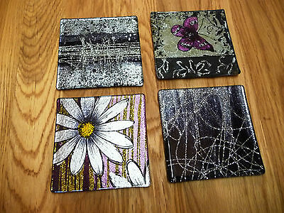 £9.75 • Buy Set Of 4 Handpainted Square Or Round Glass Coasters - Assorted Designs Available