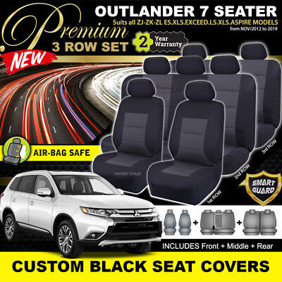 AU259 • Buy PREMIUM BLACK Mitsubishi OUTLANDER ZJ ZK ZL SEAT COVERS 7 Seater 11/2012-2020
