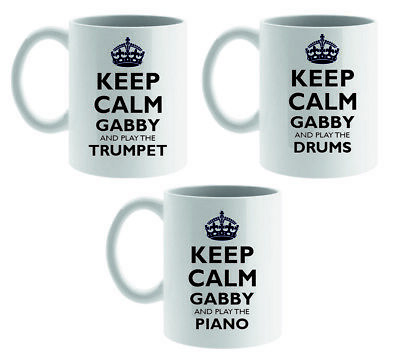 £8.95 • Buy Personalised Ceramic Mug Keep Calm And Play Instrument Music Gift With Any Name