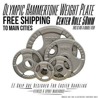 AU55 • Buy 1.25-20KG Olympic Solid Cast Iron Hammertone Weight Plate 50mm Free Weights Disc