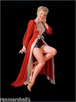 $ CDN9.78 • Buy 1940s Pin-Up Girl The Red Robe Picture Poster Print Art
