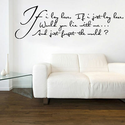 If I Lay Here, If I Just Lay Here Song Lyrics Decal Vinyl Wall Sticker • 9.99£