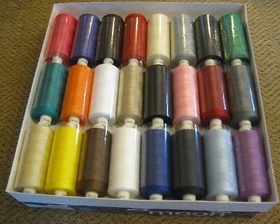 MOON POLYSTER THREADS SEWING MACHINE COTTON 10 X 1000yds ASSORTED COLOURS • 12.99£