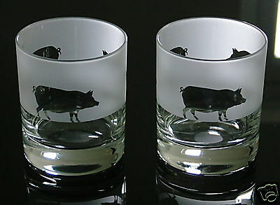 £17.99 • Buy Pig Gift Whisky Glasses...A Pair...  Boxed.