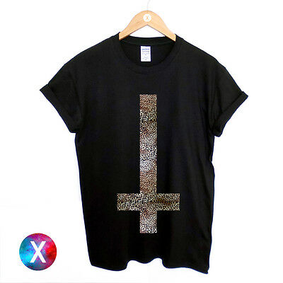 Inverted Cross Printed T Shirt Mens Leopard Printed Religion Gothic Swag Top Man • 8.95£