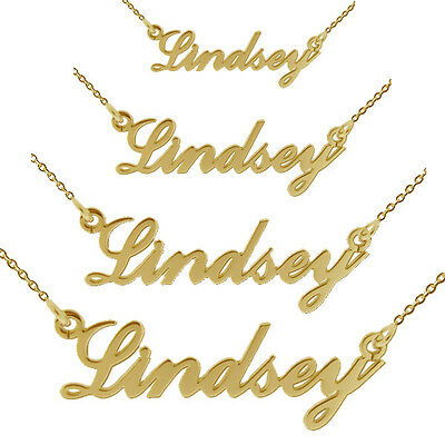 9ct Gold Plated Carrie Style ANY Name Necklace Standard Medium Large In Gift Box • 35£