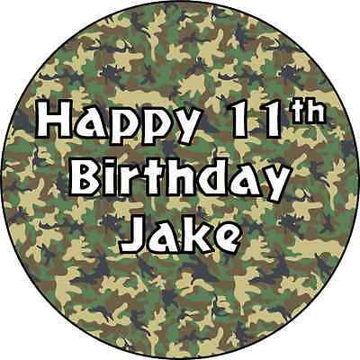£4 • Buy Personalised Army Camouflage Cake Topper - Edible Icing Or Wafer - Round
