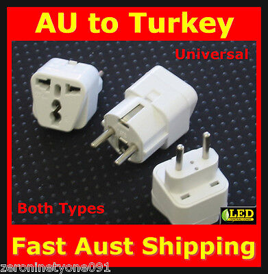 AU15.77 • Buy  AUS NZ To TURKEY EU EURO Power Plug Travel Adaptor Converter Both Types