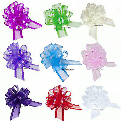 Large 50mm Organza Pull Bow Quality Gift Wrap Ribbon Wedding Car Birthday Party • 1.16£