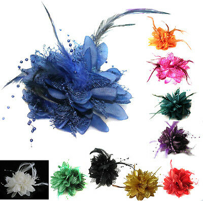 Flower Feather Bead Corsage Hair Clips Fascinator Hairband And Pin • 3.99£