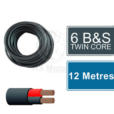 AU110 • Buy 6 B&S Twin Core Cable 12 Metres - Suits Battery Feeds, Solar Charging Etc.