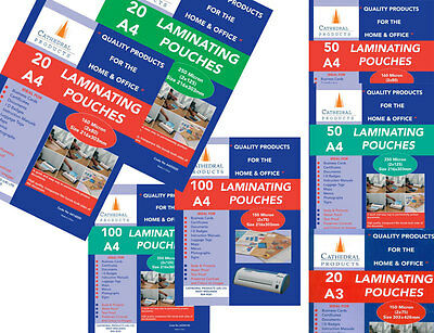 A4 Or A3 150 / 250 Micron Laminating Pouches Sheets In 20 / 50 / 100 Packs • 14.99£