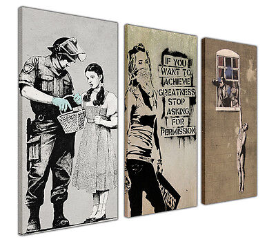 Large Canvas Prints Wall Art Banksy Collage Collection Xl Pictures Graffiti • 34.99£