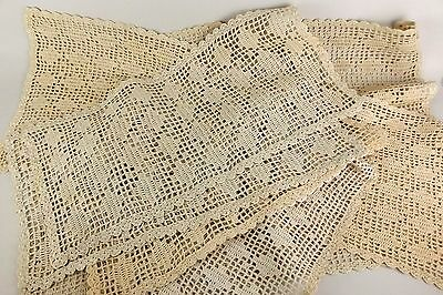 £32.44 • Buy 7 Vintage Cluny Lace Crochet Ecru Handmade Table Mats Pieces All Same Pattern