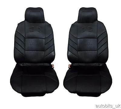 Universal Front Black Cushion Padded Seat Covers 1+1 Car Van Bus Taxi Motorhome  • 18.99£