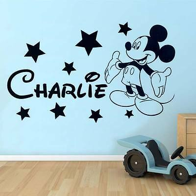 Mickey Mouse Wall Sticker  Disney Style Personalised Any Name Boys Wall Art • 7.99£