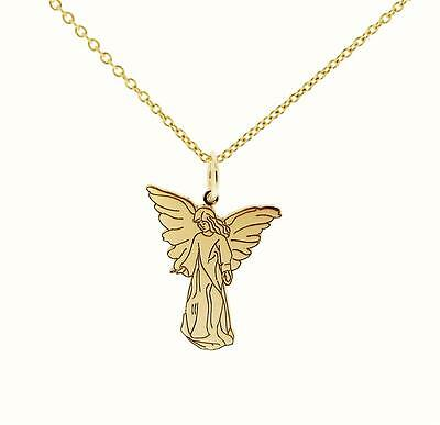 9ct GOLD PLATED ON STERLING SILVER GUARDIAN ANGEL PENDANT WITH  CHAIN OPTIONS • 23.67£