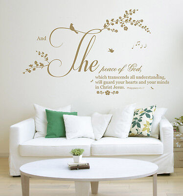 Philippians 4 V 7 NIV Bible Quote, Christian Vinyl Wall Art Stickers Decal  • 18.99£